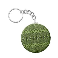 Abstract Green Splotch/Blob Pattern Keychain