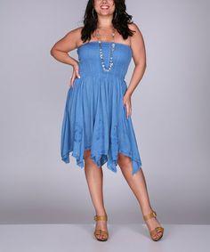 Blue Shirred Strapless Handkerchief Dress- Plus by Ananda's Collection #zulily #zulilyfinds