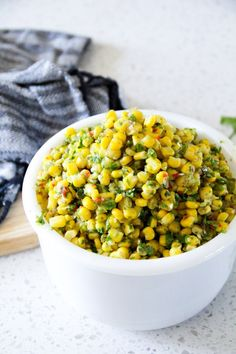 Copycat Chipotle Corn Salsa - mmm I can taste it already. A yummy Chipotle salsa copycat recipe that comes together in minutes. Chipotle Corn Salsa, Best Salsa Recipe, Chipotle Recipes, Mexican Food Recipes, New Recipes, Dinner Recipes, Cooking Recipes, Healthy Recipes, Side Dishes