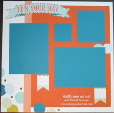 July's My Paper Pumpkin Party Pennants: 12x12 page - Stamp Your Art Out!