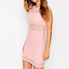 Pink Striped Dress from Asos by Motel Brooklyn Cute striped pink dress with see through netting. Bodycon. Worn only once! ASOS Dresses Mini