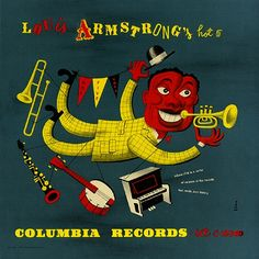 In 1947 Jim Flora did this beautiful design job when Columbia re-released Louis Armstrong and His Hot Five as an album, made up of 78 rpm records in a case.