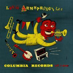 Pochette de James «Jim» Flora pour l'album Hot 5 du trompettiste Louis Armstrong 1940