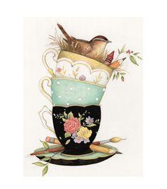 Tea Cup Art, Tea Cups, Foto Transfer, Pintura Country, Decoupage Paper, Whimsical Art, Bird Art, Illustration, Art Projects