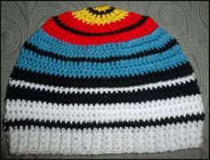Crocheted archery target hat