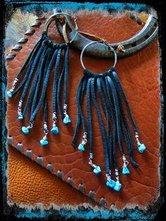 Bohemian Cowgirl Black Leather Fringe Hoops with by LivingFreeByEP, $28.00