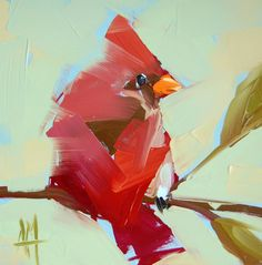 Cardinal no. 91 bird original oil painting by Angela Moulton prattceekart
