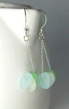 GENUINE Sea Glass Earrings / Beach Glass Earrings in Sea foam, White And Aqua Blue! Striking, all Sterling Silver and GENUINE, ocean-tumbled sea glass earrings! A trio of sea glass gems in sea foam, w