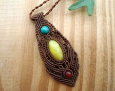 Raw Milky Amber macrame necklace turquoise by SelinofosArt on Etsy