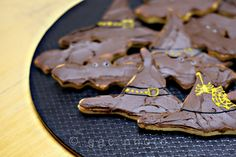 witch's hats and bats cookies ready to eat. Halloween Cookies, Bats, Candy, Chocolate, Baking, Food, Sweet, Toffee, Sweets