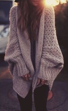 Not sure if this oversized sweater would be warm, or drafty...either way it's cute and I like it!
