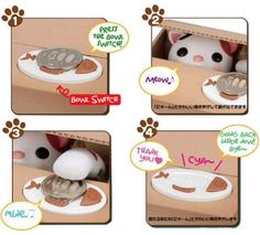 """This is a super-cute automated kitty/puppy piggy bank steals money from the fish plate! """"What the… I swear I left that right there just a second ago!?"""" We want to think that somebody took it…but nobod"""