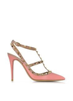 Valentino Rockstud Peau d'Ange and Powder Pink Ankle Strap Pump