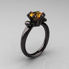 Antique 18K Black Gold 1.5 CT Citrine Engagement Ring AR127-18KBGCI Gold 15, Diamond Rings, Antiqu 14K, Gold Ring, Black Gold, Wedding Rings, Jewelri, Antiques, Engagement Rings