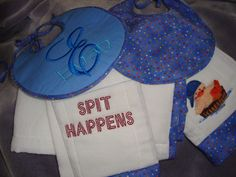 A whole ensemble for a baby shower gift by Sophia H. Love the monogram with the name over it!