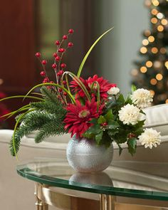 Gerbera & Holly Silk Flower Arrangement