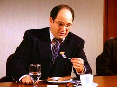 """I am eating my dessert. How do you eat it, with your hands?   """"The Pledge Drive"""""""