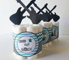 Rock A Bye Baby Diaper Cake Rockstar Mini by LilLoveBugsCreations