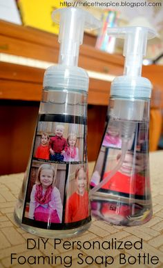 diy personalized foaming soap dispensers!  I used my kid's photos & thought they turned out so super cute & it was so quick & easy!!