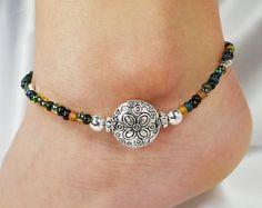 Anklet, Ankle Bracelet, Autumn Dark Seed Beads, Flat Metal Disc Flower Bead, Vacation, Beach, Cruise, Resort