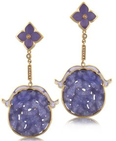 Angelique de Paris Pagoda earrings in 18k vermeil dangle with carved lavender jade, with flower-shape posts and gemstone accents; $930 #AngeliquedeParis #lavenderjade #gemstone