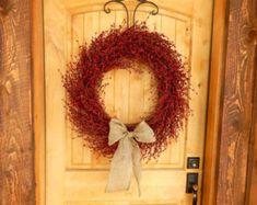 Summer Wreaths-Summer Door Wreath-Large RED BERRY Wreath-4th July Home Decor-Rustic Home Decor-Summer Decor-Fall Wreaths-Housewarming Gift