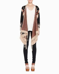 Draped sweater for Fall.  Love the fringed edge!