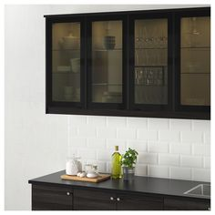 IKEA   JUTIS Glass Door Smoked Glass, Black