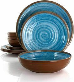 Melamine Dinnerware Sets, Blue Dinnerware, Stoneware Dinnerware, Tableware, Blue Plates, Plates And Bowls, Salad Plates, Dinner Table, Dinner Plates
