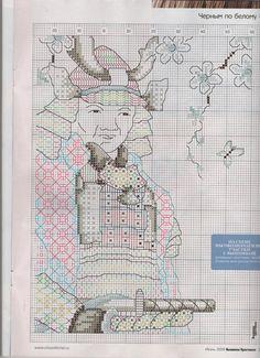 BLACKWORK-esquemas   Aprender manualidades es facilisimo.com Japanese Worrier Chart 02