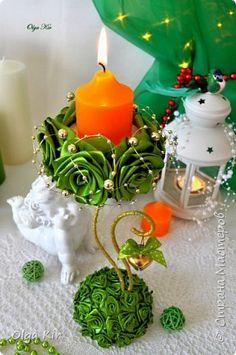 Бонсай топиарий ёлка Новый год Моделирование конструирование Новогодний декор Ленты фото 6