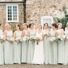 We Re Loving These Bridesmaids Wearing Chiffon Style 1114 In Pistachio