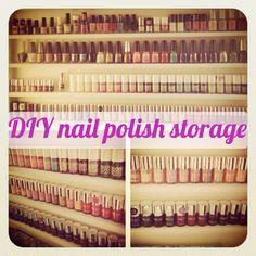 flutter and sparkle: DIY / Tutorial : How to make a nail polish storage unit - Beauty Nail Polish Storage, Nail Polish Crafts, Nail Polish Designs, Nail Polish Colors, Nail Designs, Nail Polishes, Diy Storage, Diy Organization, Makeup Storage