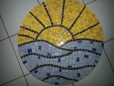Mosaic Lazy Susan. Sunrise over water