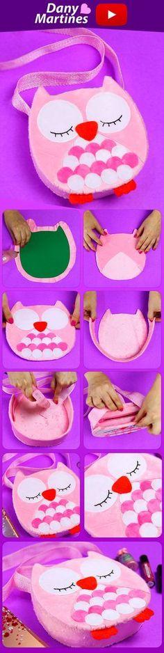Faça você mesmo uma linda bolsa de coruja, diy, do it yourself, owl, bag, love, Dany Martines, Youtube