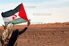 A woman with a Saharawi flag near the so-called Moroccan Wall, a defensive fortification within Western Sahara. Western Sahara, Fortification, North Africa, Bunker, Our World, Morocco, Westerns, Flag, City