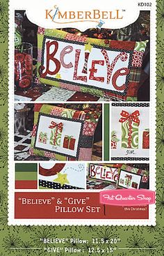 Believe & Give Pillow Set Pattern Kimberbell Designs