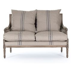 Blue Striped French Louis Settee - Natural linen fabric