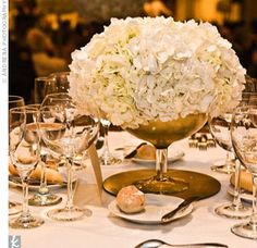 Gold centerpiece with hydrangea. This is a great use for the gold chargers. Need to find good vases.