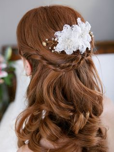 Wedding Hairstyles for Long Hair with White Lace Hair Flowers