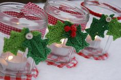 Christmas jars by Dutch Sisters using the  Holly Leaves tutorial by Lucy of Attic24