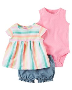 Baby Girl 3-Piece Neon Bubble Short Set Complete with a breezy top, a cute bodysuit and bubble shorts, this 3-piece set is perfect for spring.