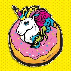 Скачать - Поп-арт мода Магия Единорог в пончик — стоковая иллюстрация #145469275