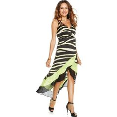 Thalia Sodi Zebra-Print High-Low Tulip Dress (92 CAD) ❤ liked on Polyvore featuring dresses, neon zebra, neon dress, white dress, high low dresses, mullet dress and hi low dress