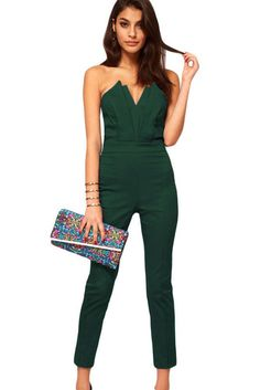 Plus Size Green Sexy Jumpsuit with Pleated Bust Origami Detail https://www.modeshe.com #modeshe @modeshe #Green