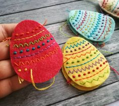 Items similar to Felt Easter decoration, Colorful Embroidered Decorative Easter eggs, Easter decorations, Easter basket decor Rainbow Easter Ornament - 1 egg on Etsy Diy Projects Easter, Easter Crafts For Kids, Easter Decor, Easter Tree, Easter Eggs, Felt Animal Patterns, Felt Embroidery, Felt Decorations, Felt Hearts