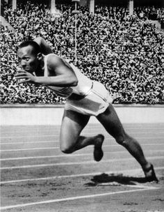 Jesse Owens competing in the 1936 Olympic Games in Berlin.