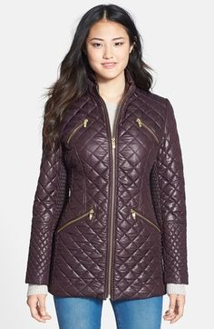 Via Spiga Stand Collar Quilted Jacket available at #Nordstrom