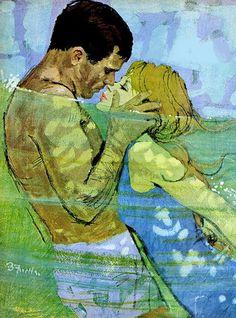 Bernie Fuchs illustration ~ reminds me of my HS days Art And Illustration, Fuchs Illustration, Vintage Illustrations, Vintage Romance, Vintage Art, Robert Mcginnis, Art Moderne, Pulp Art, Couple Art
