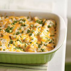 Trade the traditional enchilada sauce for a creamy, cheesy topping on this Mexican chicken casserole recipe. Your family will never know they're enjoying a lightened meal.
